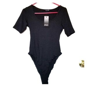 NWT NastyGal simple black tshirt-style bodysuit